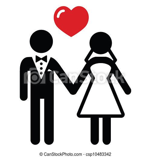 párosít, házas, esküvő, ikon - csp10483342