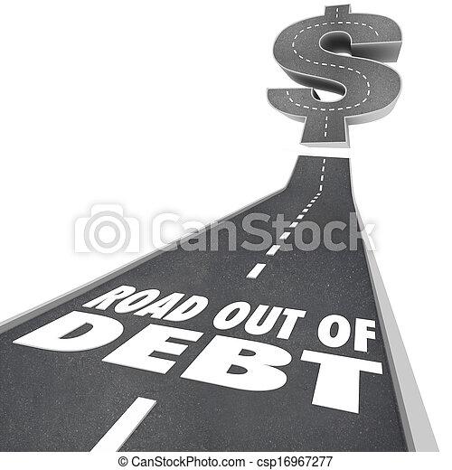 pénz, anyagi, adósság, út, probléma, ki, segítség - csp16967277