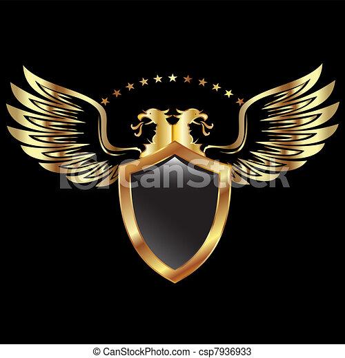 pajzs, arany, sas - csp7936933