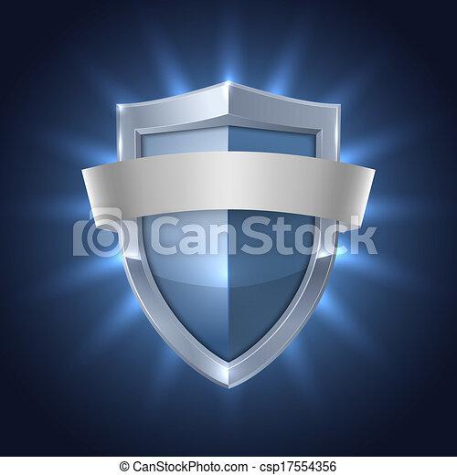 pajzs, izzó, biztonság, tiszta, jelvény, szalag - csp17554356