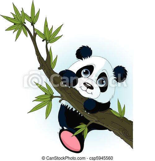 panda, mászik fa, óriási - csp5945560