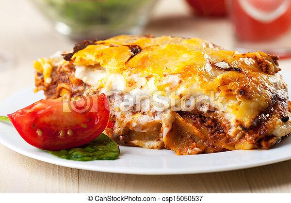 paradicsom, lasagna, szelet, tányér - csp15050537