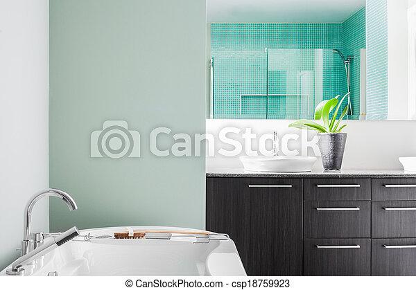 pasztell, fürdőszoba, modern, befest, zöld, használ, lágy - csp18759923