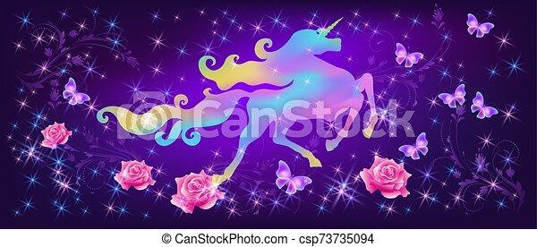 pazar, szikrázó, agancsrózsák, ellen, egyszarvú, kanyargás, háttér, képzelet, csillaggal díszít, irizáló, sörény, világegyetem, pillangók - csp73735094