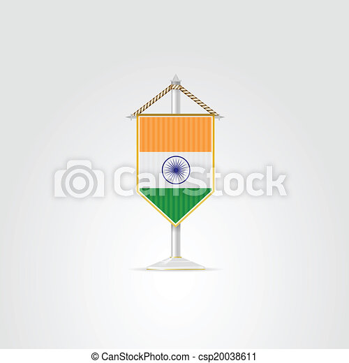 pennon, india., elszigetelt, ábra, lobogó, vektor, white. - csp20038611