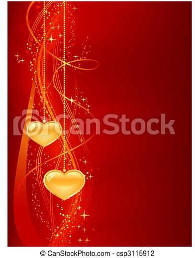 piros, háttér, romantikus, arany, piros - csp3115912
