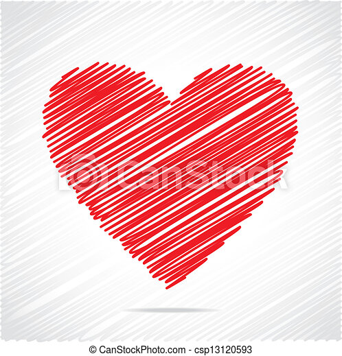piros szív, skicc, tervezés - csp13120593