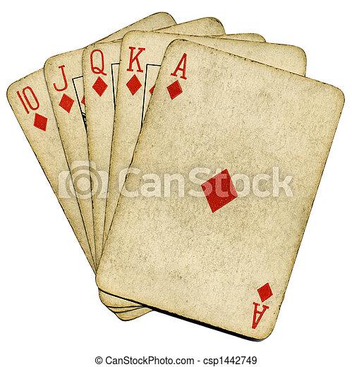 piszkavas, öreg, szüret, felett, királyi, elszigetelt, white., pirul, kártya - csp1442749