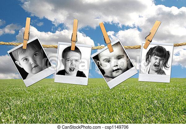 polaroid, fiatal, film, totyogó kisgyerek, gyermek, sok, kifejezések - csp1149706