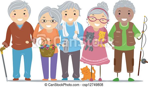 polgárok, stickman, idősebb ember - csp12749808