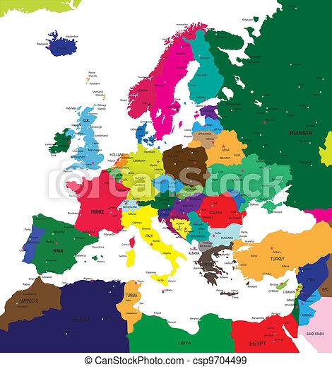 politikai, európa, térkép - csp9704499