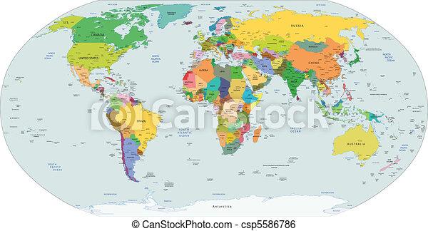 politikai, globális, térkép, világ - csp5586786