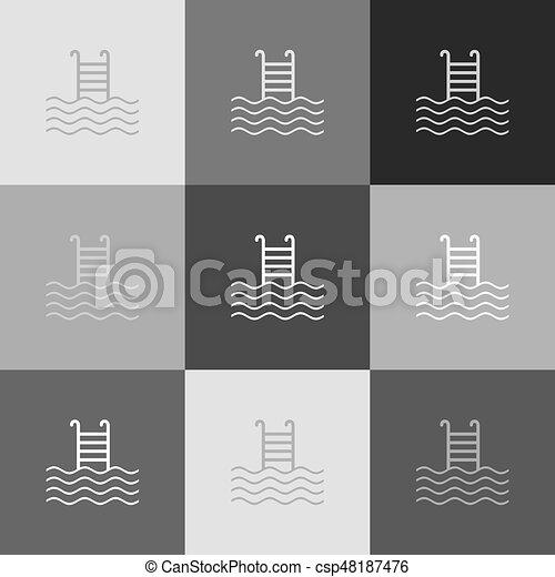 popart-style, cégtábla., grayscale, változat, vector., icon., pocsolya, úszás - csp48187476
