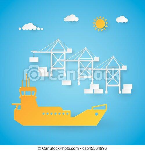 port., rakomány, berakodás, kikötő, hajózás, dolgozat, elvág, vektor, dock., ábra, hajó - csp45564996