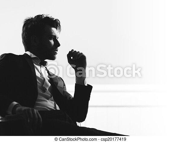 portré, ember, furfangos, jelentékeny - csp20177419