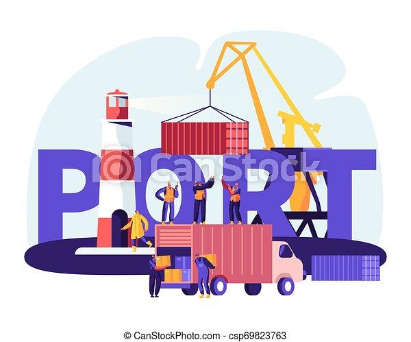 poszter, tenger, hord, rév, berakodás, transzparens, repülő, concept., tengeri kikötő, tároló, lakás, összekapcsol, ábra, dobozok, brochure., daru, karikatúra, világítótorony, kikötő, hajózás, vektor, csereüzlet, munkaszervezési, munkás - csp69823763