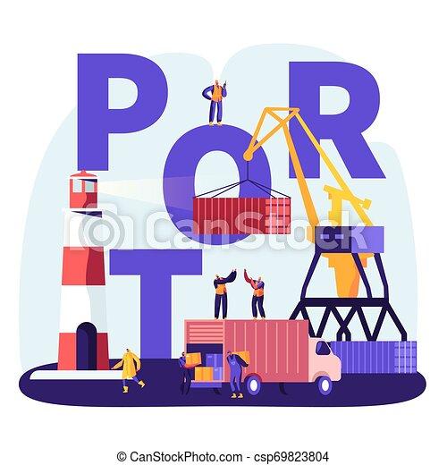 poszter, tenger, hord, rév, berakodás, transzparens, repülő, concept., tengeri kikötő, tároló, lakás, összekapcsol, ábra, dobozok, brochure., daru, karikatúra, világítótorony, kikötő, hajózás, vektor, csereüzlet, munkaszervezési, munkás - csp69823804