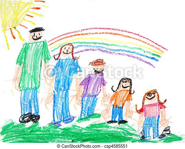 primitív, gyerekek, zsírkréta rajz, család - csp4585551