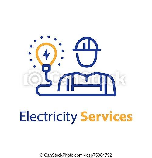 profi, gumó, villanyáram, villanyszerelő, foglalkozás, szolgáltatás, fény - csp75084732