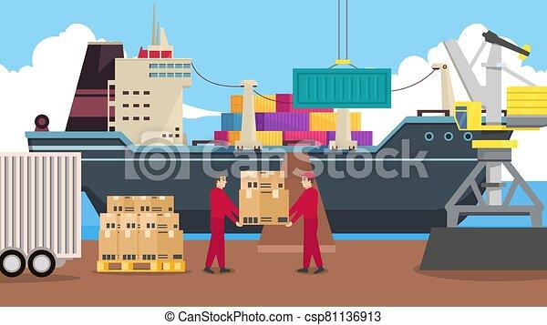 rév, daru, hajózás, kikötő - csp81136913