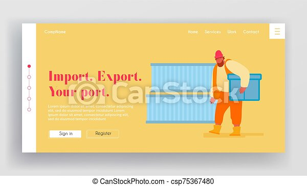rév, oldal, hajózás, export, hord, vektor, leszállás, konténer, import, munkaszervezési, karikatúra, tengeri, berakodás megnyirbál, tengeri, rakomány, banner., page., munkás, ügy, háló, ábra, lakás, website, transportation. - csp75367480