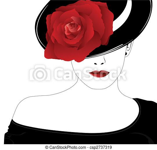 rózsa, nő, kalap - csp2737319