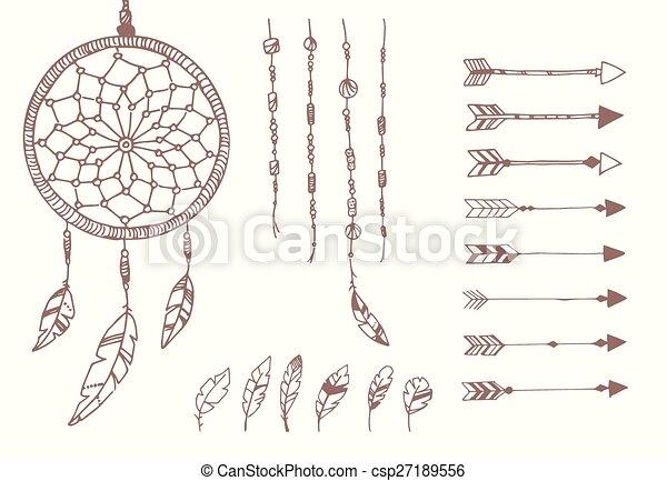 rózsafüzér, fogójátékos, horgol, nyílvesszö, kéz, amerikai, húzott, álmodik, bennszülött - csp27189556
