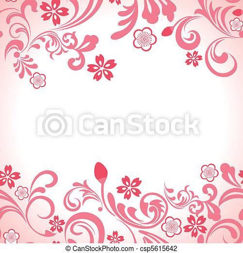 rózsaszínű, cseresznye, keret, seamless, kivirul - csp5615642