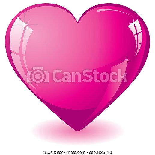 rózsaszínű, szív, fénylik - csp3126130