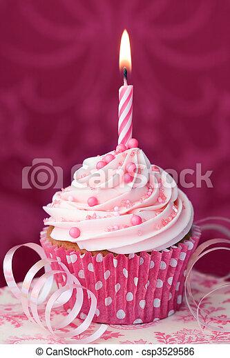 rózsaszínű, születésnap, cupcake - csp3529586