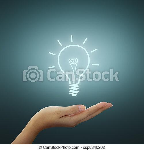 rajz, gumó, fény, gondolat, kéz - csp8340202