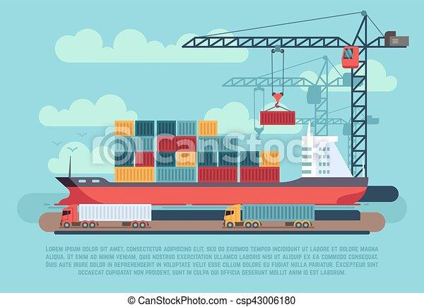 rakomány, berakodás, kikötő, hajózás, vektor, ábra, tenger, hajó, tároló, daru, rév, szállít - csp43006180
