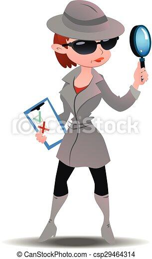 rejtély, kémkedik, nő, anyagbeszerző, bőr - csp29464314