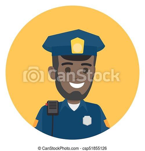 rendőrség, váll, fekete, rádió, tiszt, állhatatos - csp51855126