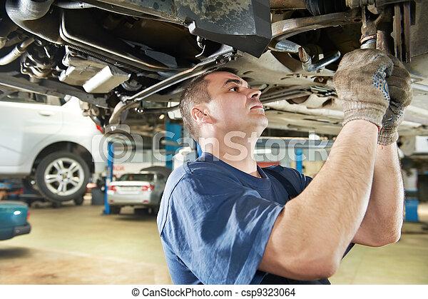 rendbehozás, autó, munka, szerelő, autó, felfüggesztés - csp9323064