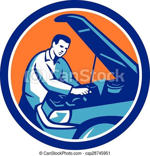 rendbehozás, autó, retro, szerelő, autó, karika - csp28745951