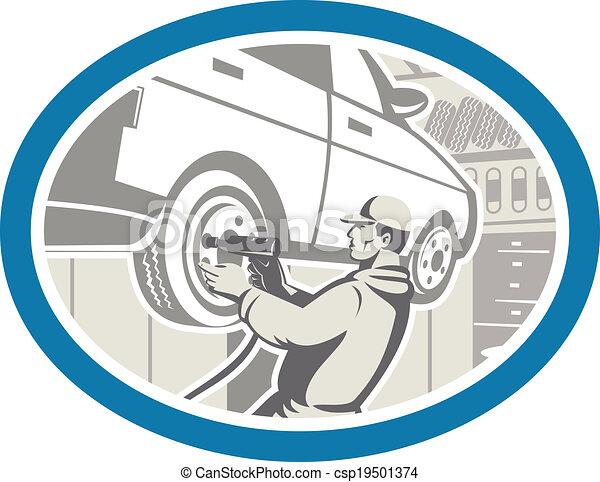 rendbehozás, autógumi, autó, retro, szerelő, átalakuló - csp19501374