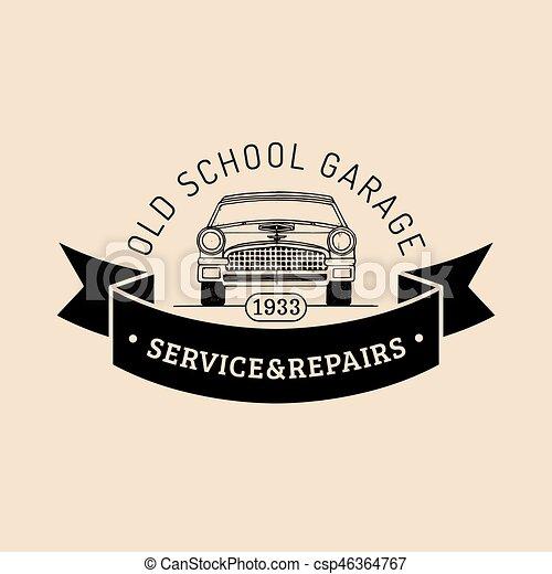 rendbehozás, illustration., autó, retro, autó, jel - csp46364767