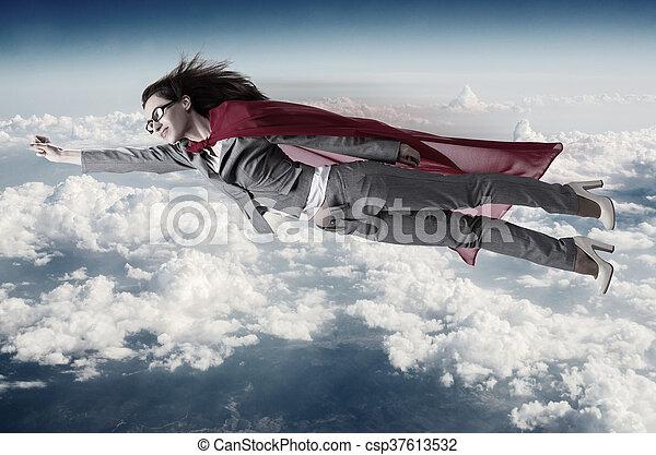 repülés, superwoman, felül, ég - csp37613532