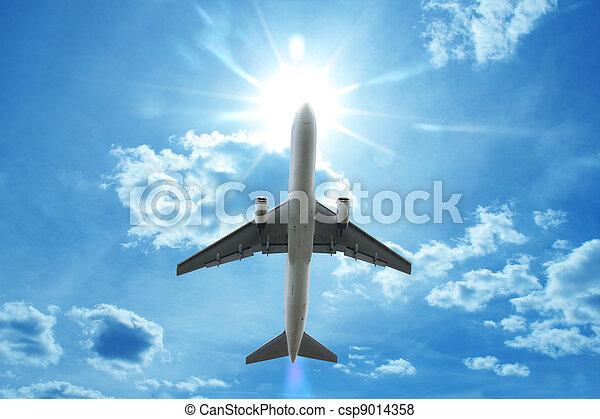 repülőgép, repülés, elhomályosul, felül - csp9014358
