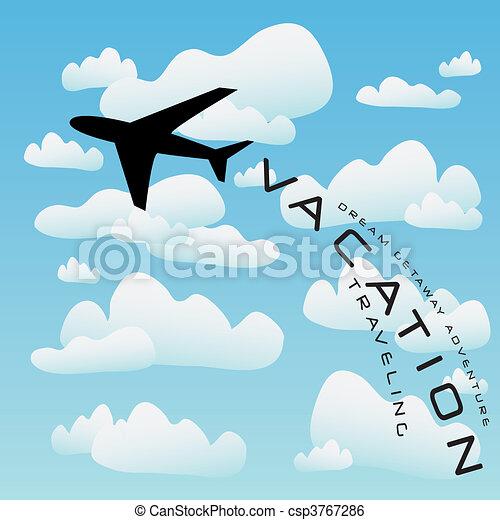 repülőgép, vektor, szünidő utazik - csp3767286