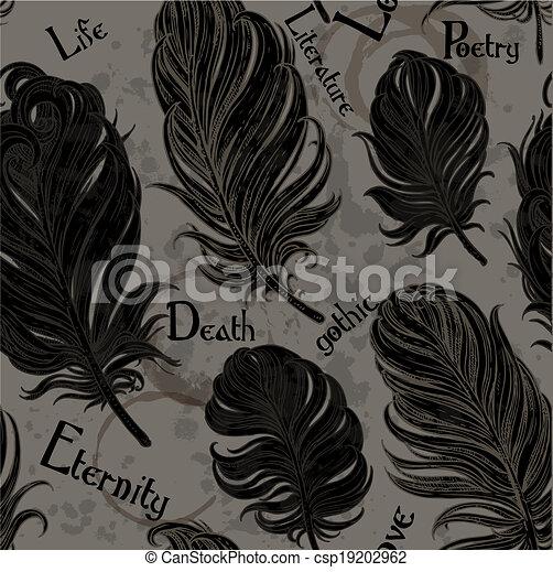 romantikus, horgol, seamless, black háttér, gót, madár - csp19202962