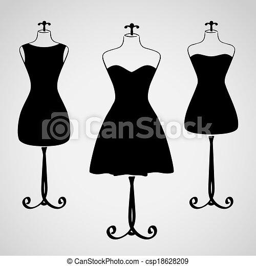 ruha, árnykép, női, klasszikus - csp18628209