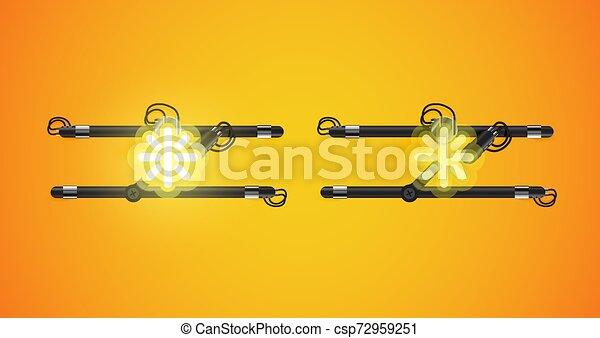 sárga, charcter, izzó, el, neon, gyakorlatias - csp72959251