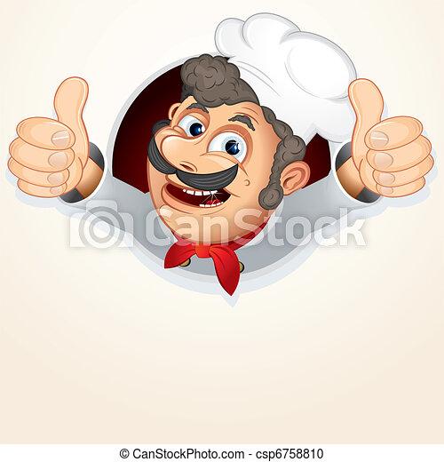 séf, szakács, kiállítás, lapozgat feláll - csp6758810