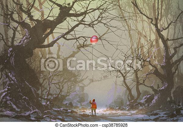 sötét, egyedül, erdő - csp38785928