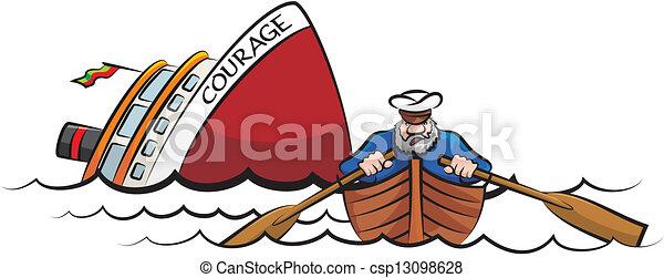 süllyesztés hajó, kapitány, elröppenő - csp13098628