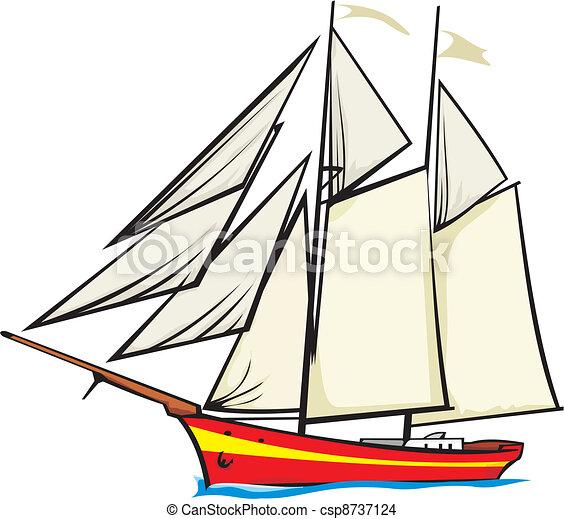 sailer, tele, -, vitorlázik, alatt - csp8737124
