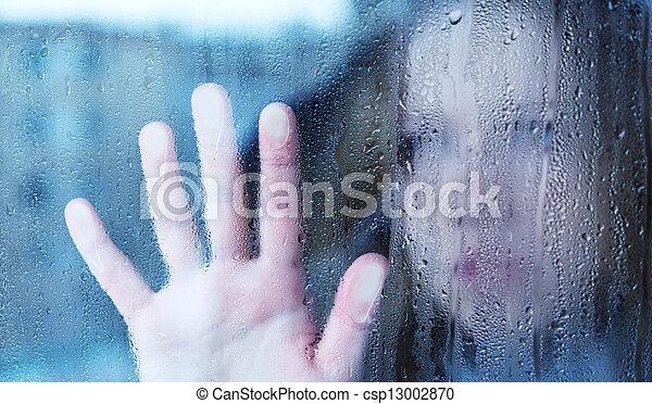 sajnálatos woman, ablak, eső, melankólia, fiatal - csp13002870