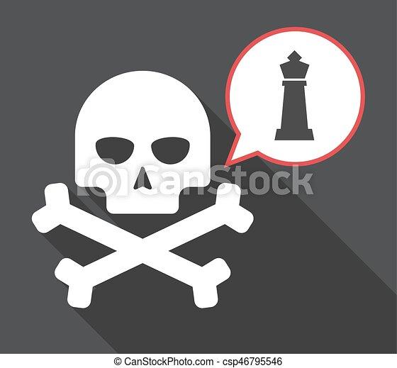 sakkjáték, alak, hosszú, árnyék, király, koponya - csp46795546